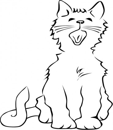Cat Yawning Free Vector In Open Office Drawing Svg    Svg   Format