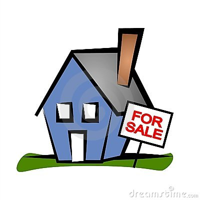 Clip Art Real Estate Illustration Of A Blue House With A For Sale Sign
