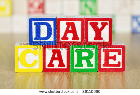 Day Care Spelled Out In Alphabet Building Blocks Stock Photo 89110090