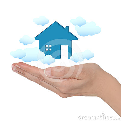 Female Hand And Dream House With Clouds On White Background