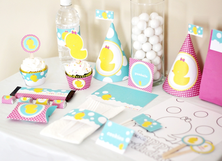 Girl Rubber Ducky  Duckie  Birthday Printable Party Kit