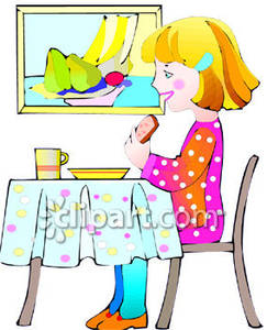 Small Girl Eating   Royalty Free Clipart Picture
