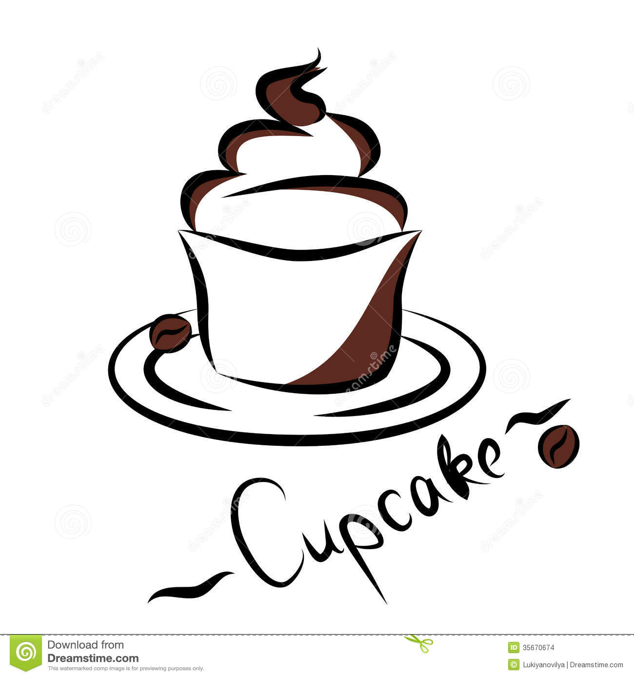 Abstract Silhouette Of Cupcake  Vector Illustration