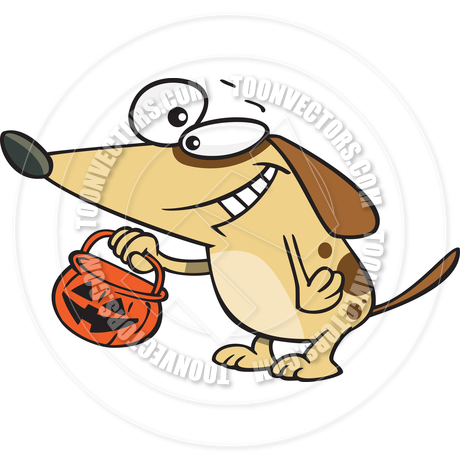 Cartoon Dog Trick Or Treating By Ron Leishman   Toon Vectors Eps