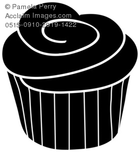 Clip Art Illustration Of A Cupcake Silhouette   Acclaim Stock