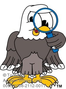 Clip Art Illustration Of Cartoon Bald Eagle Searching With Magnifying