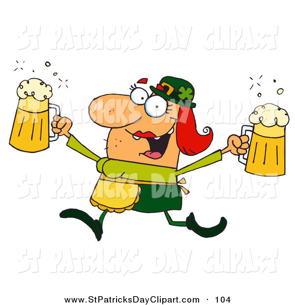 Clip Art Of A Leprechaun Woman Running With Beers By Hit Toon    104