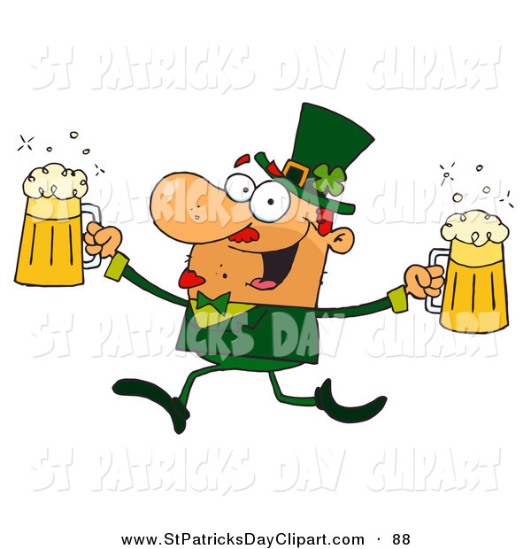 Clip Art Of An Irish Male Leprechaun Running With Beers By Hit Toon