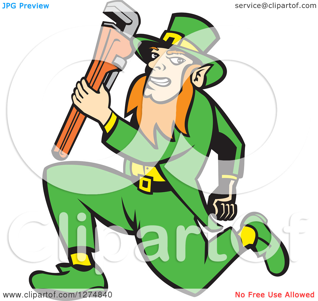Clipart Of A Leprechaun Plumber Holding A Monkey Wrench And Running