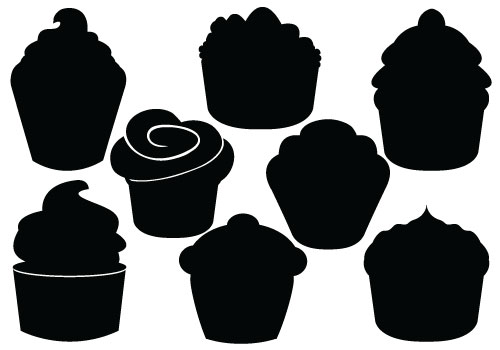 Cupcake Silhouette Vectorcategory  Christmas Vector Graphics