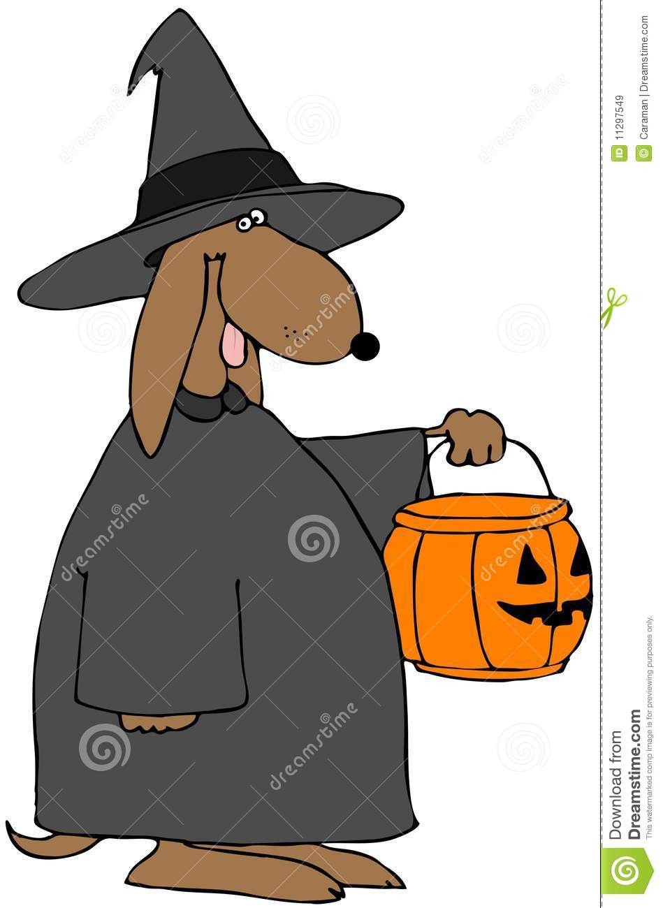 Depicts A Dog Dressed As A Witch And Holding A Trick Or Treat Pumpkin