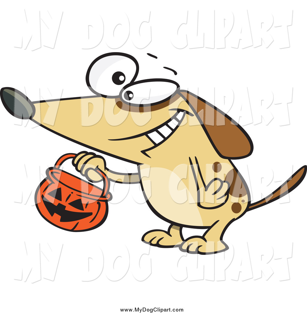 Larger Preview  Clip Art Of A Brown Dog Trick Or Treating On Halloween