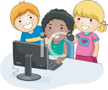 Little Kids Having Fun With The Computer   Royalty Free Clipart Image