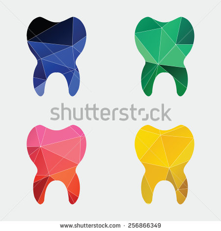 Tooth Icon Abstract Triangle Geometrical Background   Stock Vector