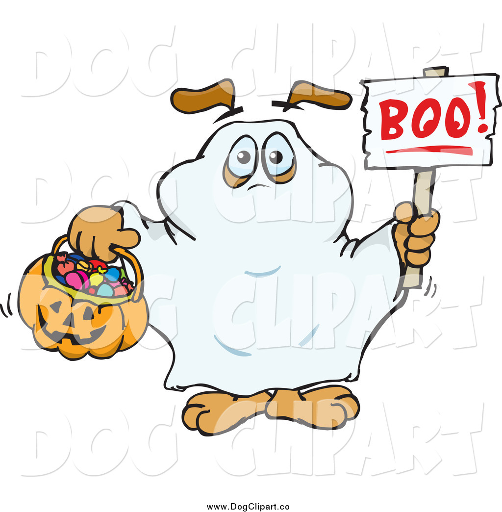 Vector Clip Art Of A Dog Trick Or Treating As A Ghost And Holding A