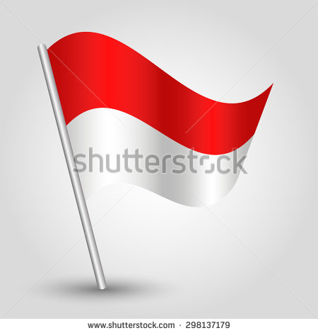 Vector Waving Simple Triangle Flag On Pole   National Symbol Of Monaco
