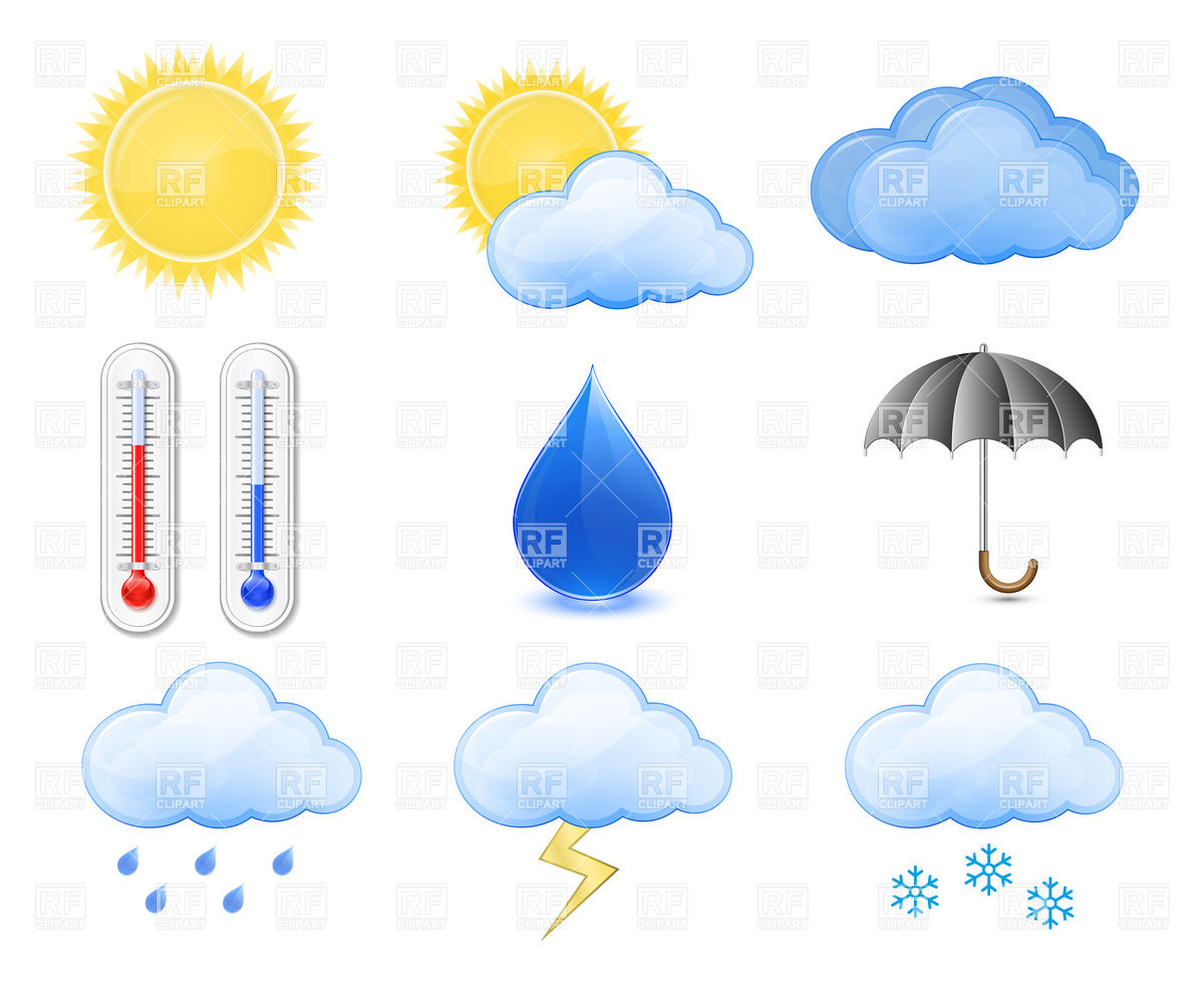 Weather Forecast Icons Outdoor Thermometer Sun Cloud Rain 6038