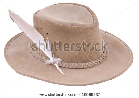 Brown Brim Hat From Safari In Africa With A Feather From A Eagle Found