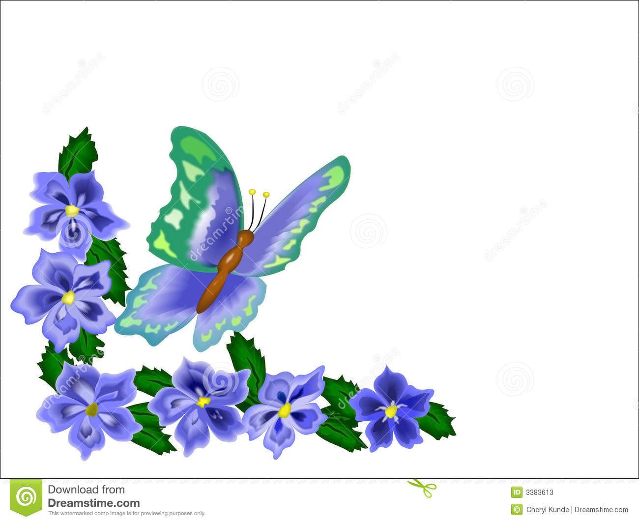 Flower and butterfly border clip art - photo#21
