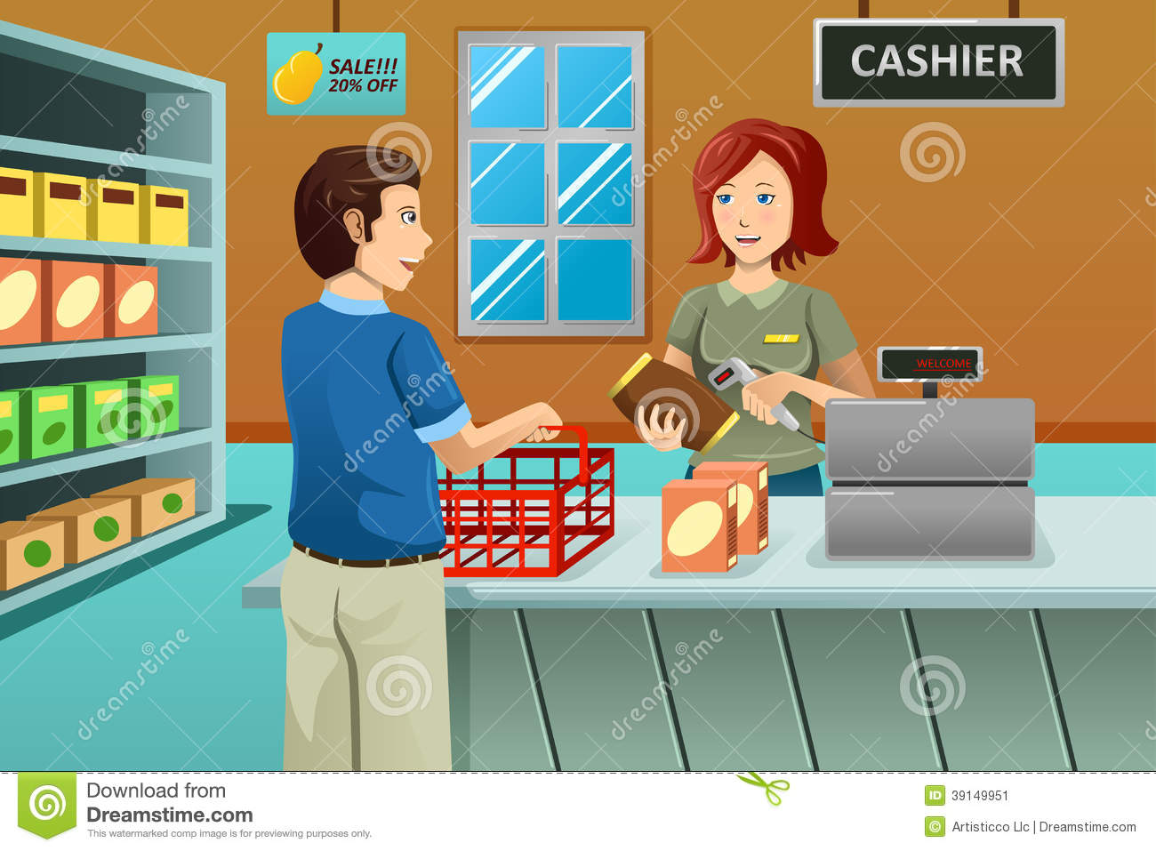 Cashier Working In The Grocery Store Stock Vector   Image  39149951