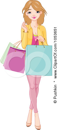 Clip Art Illustration Of A Pretty Young Woman Holding Shopping Bags
