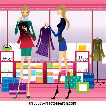 Clipart   Two Young Women Clothes Shopping  Fotosearch   Search Clip