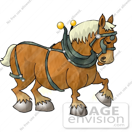 Clydesdale Draft Horse Wearing A Harness Clipart    17824 By Djart
