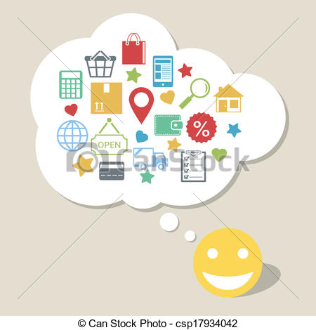 Eps Vector Of Online Shopping With Happy Satisfied Customer   Online
