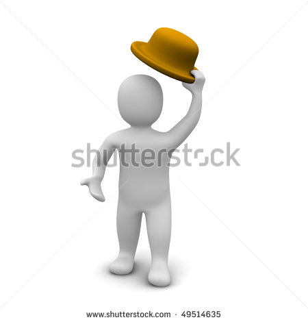 Greeting   Man Raising The Hat  3d Rendered Illustration    Stock