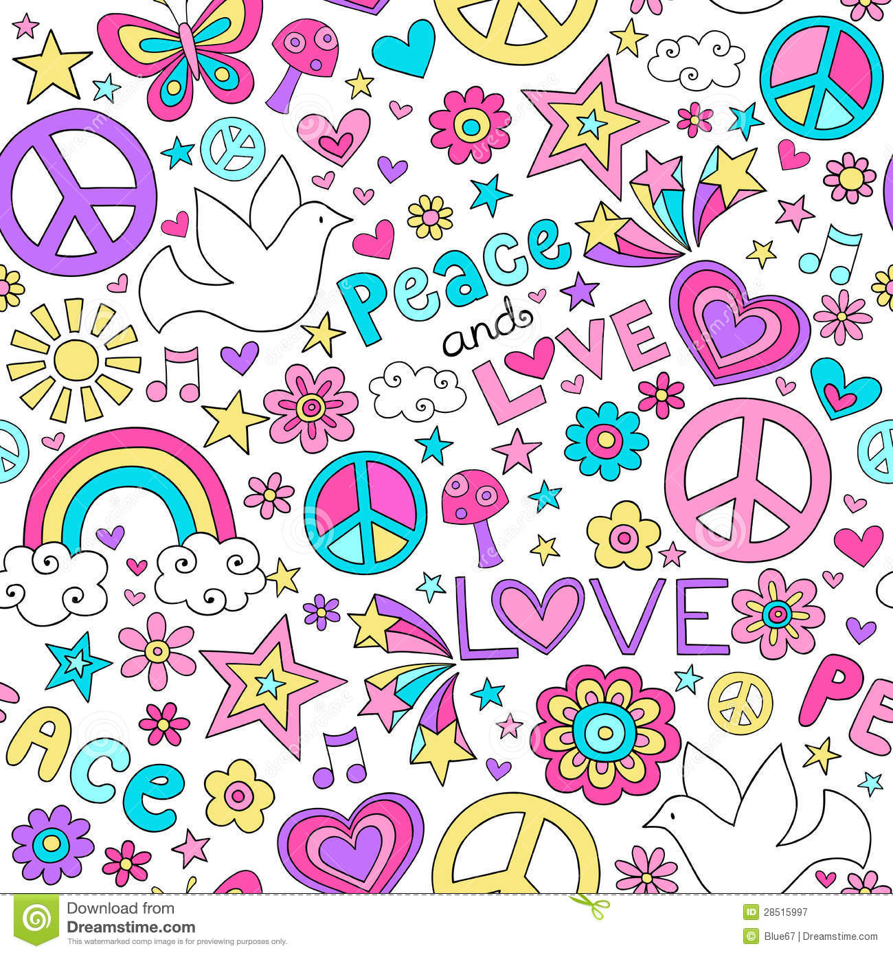 Seamless Pattern Doves Groovy Peace Sign Notebook Doodle