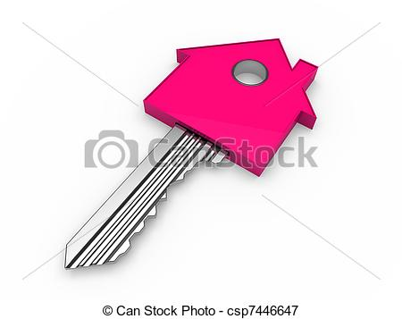 3d Key Home House Pink Estate Security Csp7446647   Search Eps Clipart