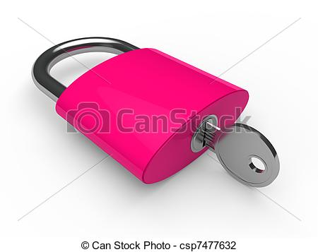 Art Of 3d Padlock Pink Key Safety Lock Lie Csp7477632   Search Clipart