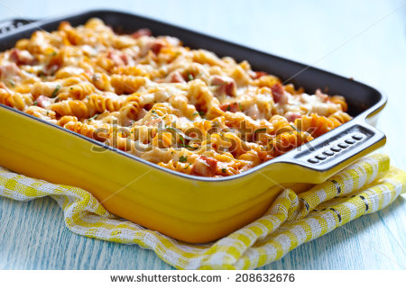 Baked Pasta With Ham And Cheesy Tomato Sauce   Stock Photo