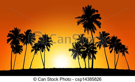 Clip Art Of Group Of Coconut Trees On Sunset Background   Realistic