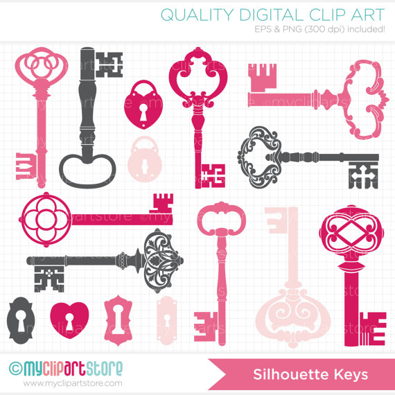 Clipart Silhouettes   Pink Skeleton Keys Clip Art   Digital Clipart