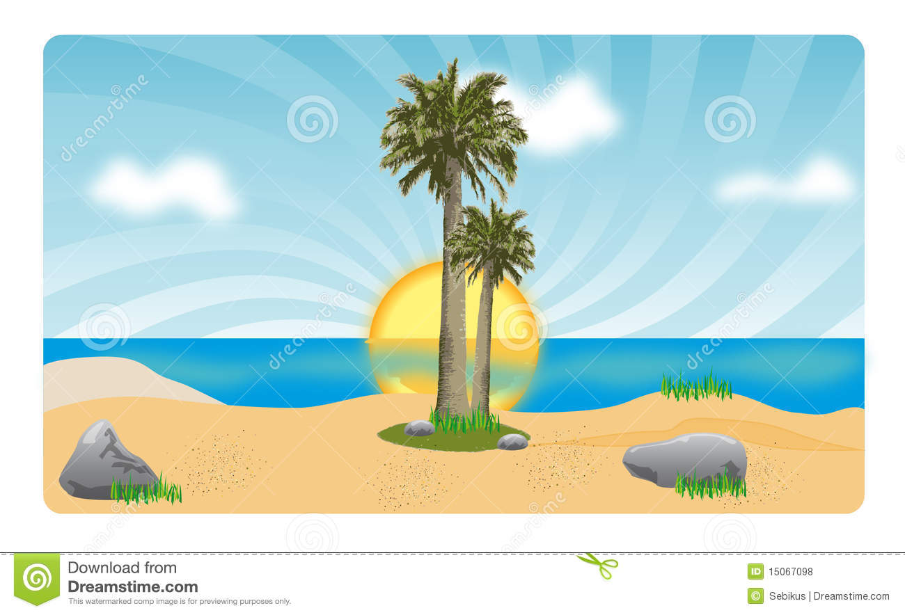 Coconut Palm Trees On Beach In Sunset Royalty Free Stock Photos