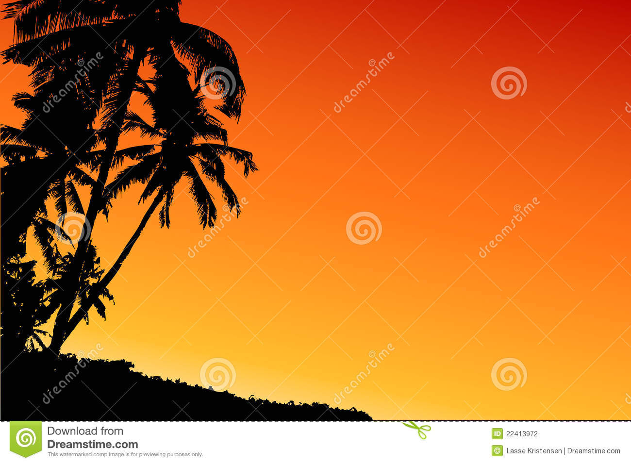 Coconut Tree Sunset Stock Photography   Image  22413972
