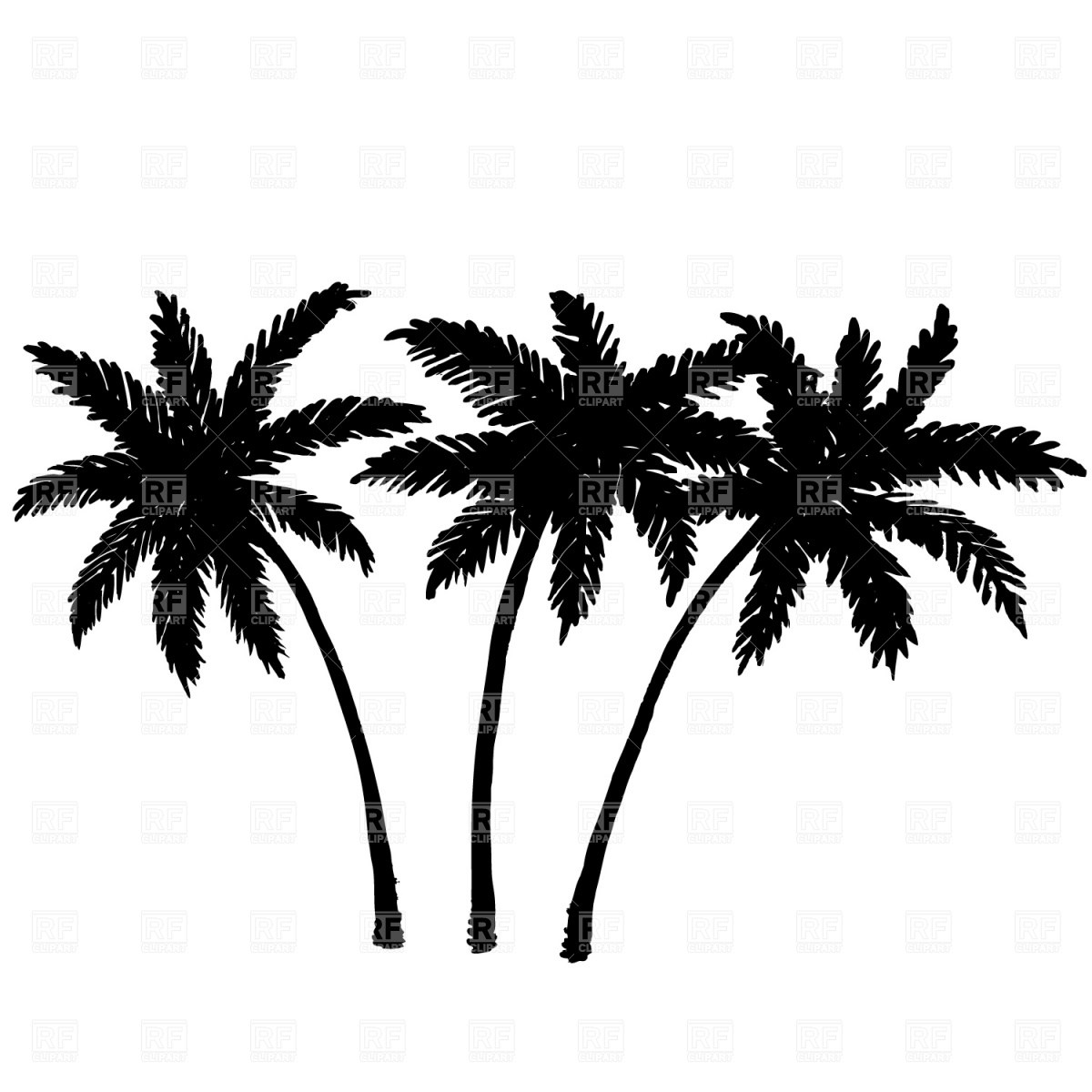 Drawing Two Coconut Trees With Sunset View Clipart Drawing