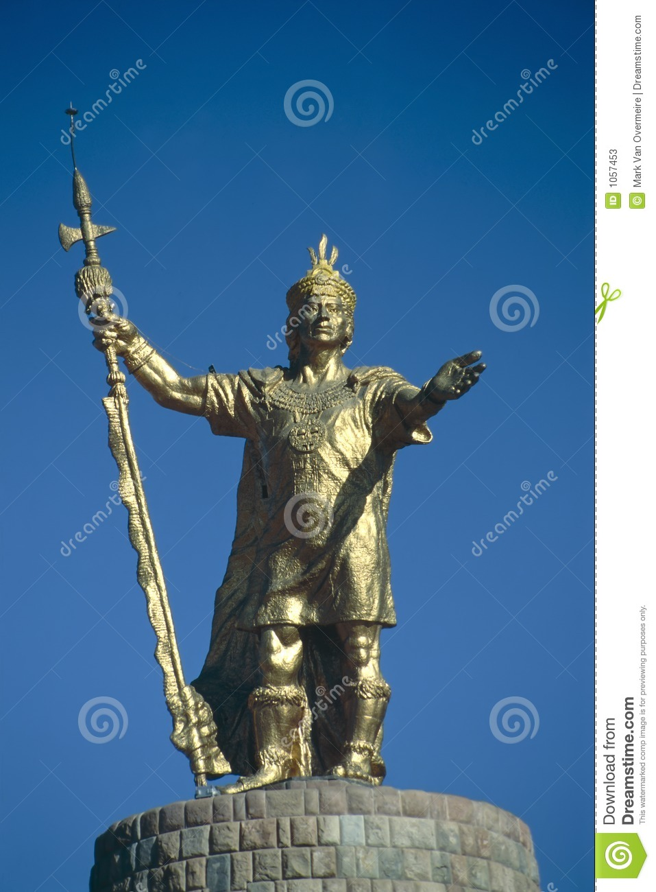 Golden Statue Of The Inca King Atahualpa In Cuzco Peru