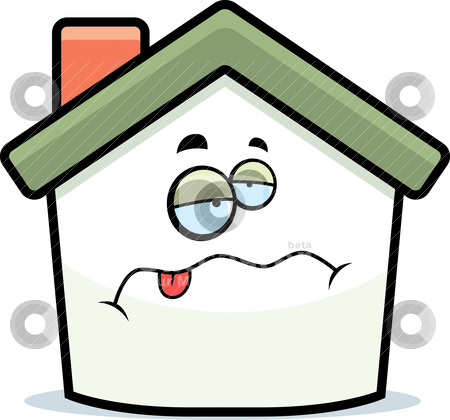 Home Sick Stock Vector Clipart A Cartoon House With A Sick Expression