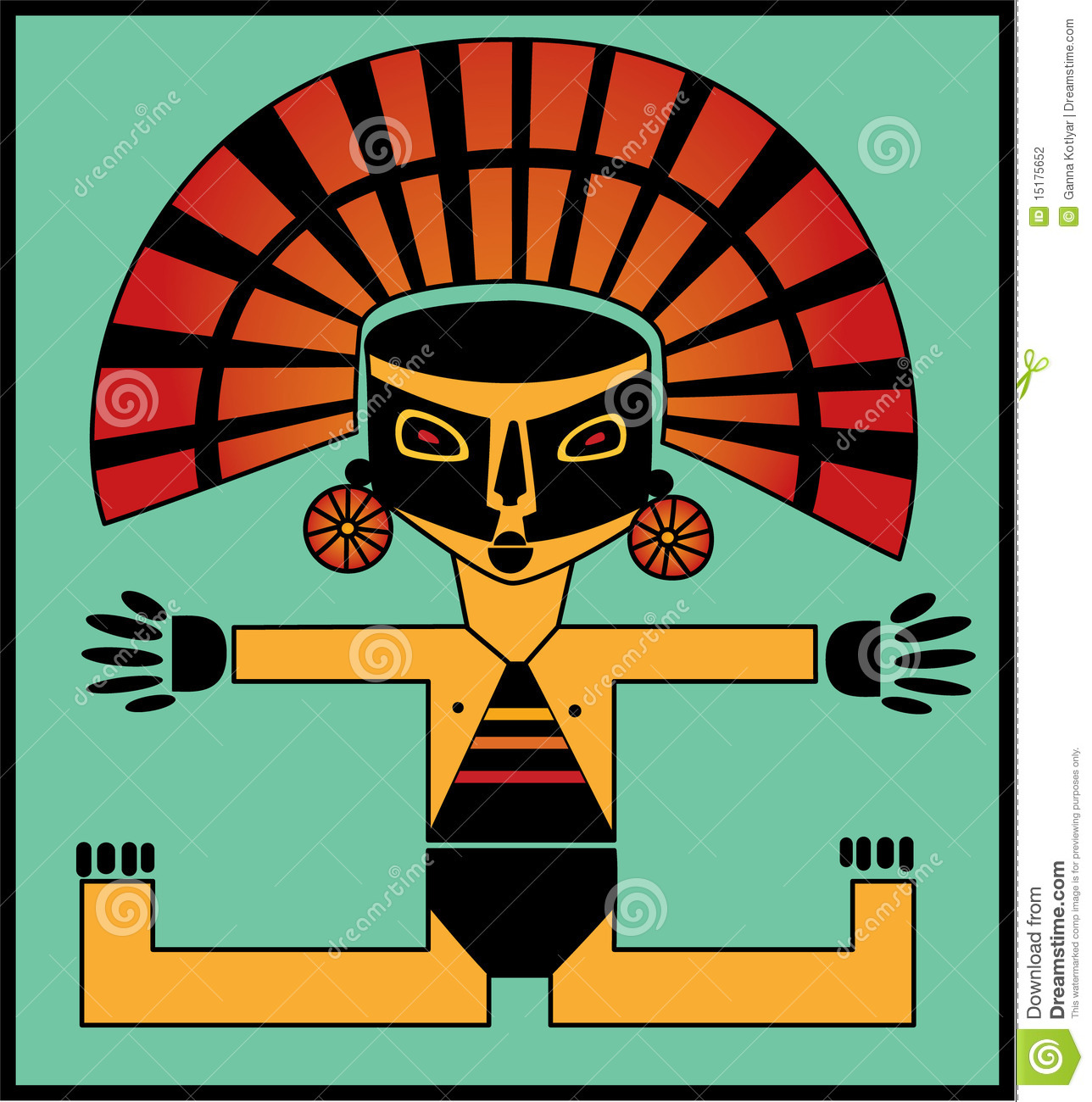 Illustration Of Inca Child In Black Mask And Gold Hat