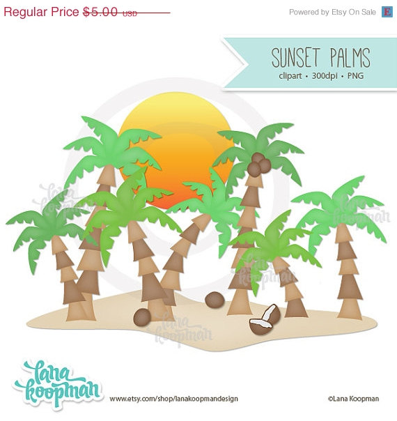 Sale Sunset And Palm Tree Clip Art By Lanakoopmandesign On Etsy