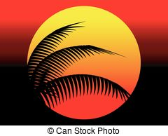 Summer Sunset And Coconut Tree Stock Illustrations