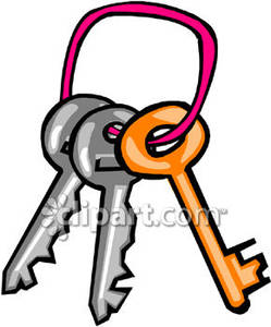 Three Keys On A Pink Keyring   Royalty Free Clipart Picture