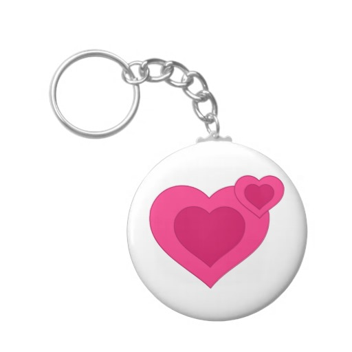 Two Pink Hearts Clip Art Key Chain   Zazzle