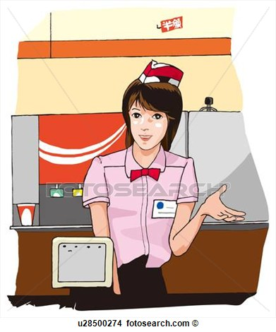 At A Fast Food Restaurant Illustration  Fotosearch   Search Clip