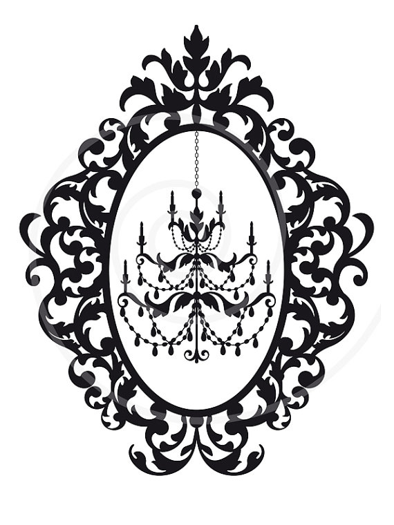 Chandelier In Vintage Picture Frame Silhouette Digital Clipart Clip