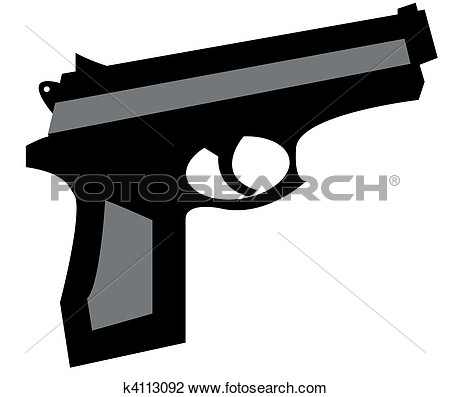 Clip Art   Small Hand Gun In Black And Grey  Fotosearch   Search