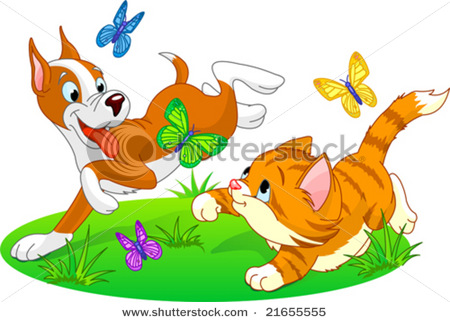A Cat Chasing Dog Clipart - Clipart Kid