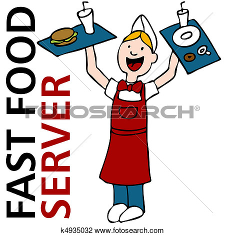 Fast Food Worker View Large Clip Art Graphic